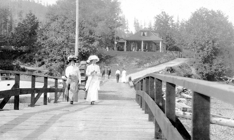 Ladies on bridge over Lagoon in Deep Bay