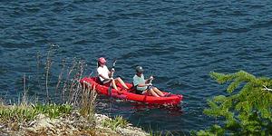 Kayaking along Bowen Island's shoreline